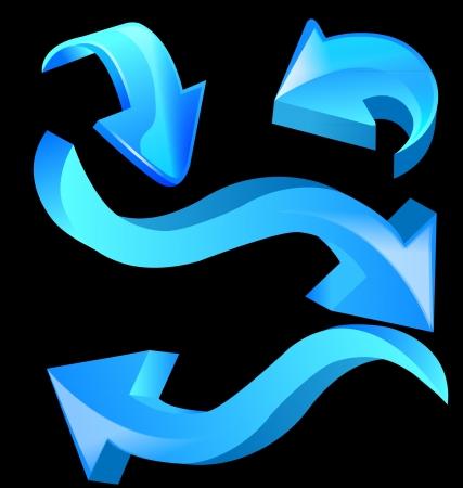 Blue glossy arrow icons design vector Vector