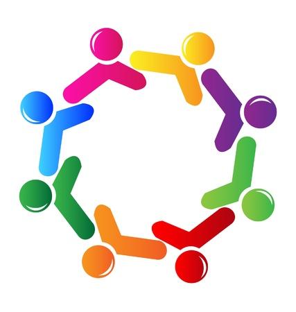 naciones unidas: Teamwork logo redes sociales Vectores