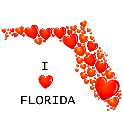 Florida State met hartjes vector Stock Illustratie