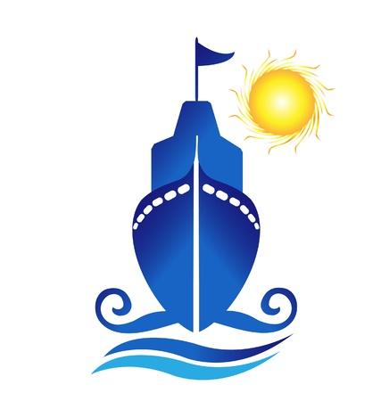 Ship sun waves logo vector Vettoriali