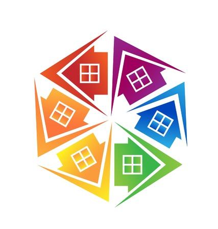 미드 타운: 부동산 집 로고 디자인 벡터