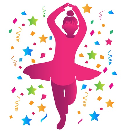 Girl dancing and confetti comes down Stock Vector - 14760782
