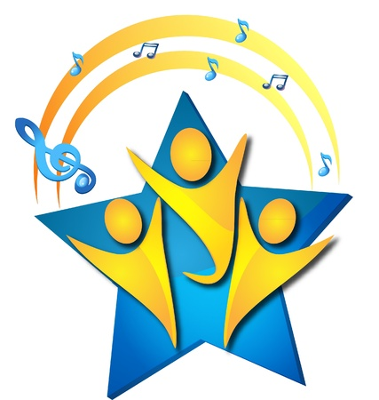 Teamwork singing talents logo Vector
