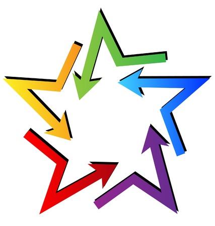 Arrows in star shape logo vector Ilustração
