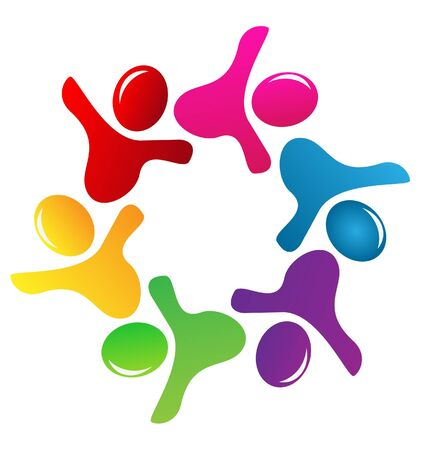 People figures teamwork logo vector Vector