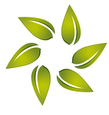 corporations: Leafs around logo vector