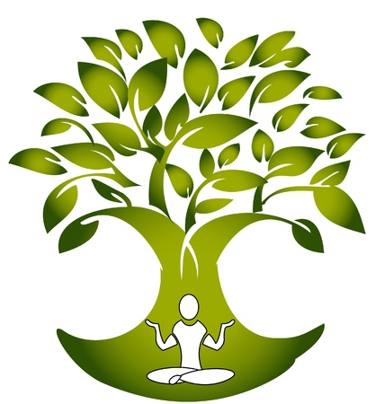 Yoga figure with tree logo vector Vector