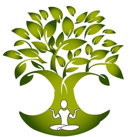 Yoga figure with tree logo vector Vector