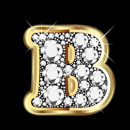 B gold and diamond bling Vector