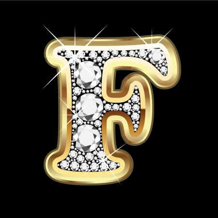 F gold and diamond bling Vector