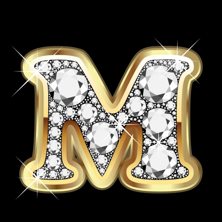 M gold and diamond bling Vector