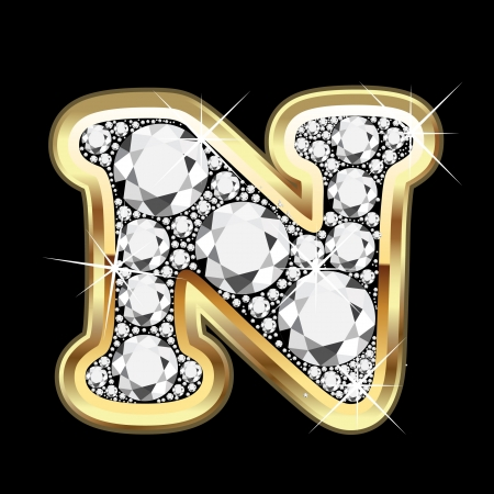 N gold and diamond bling Vector
