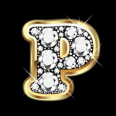 P goud en diamant bling