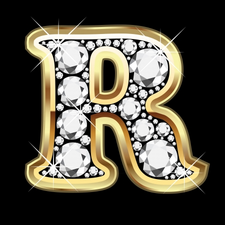R gold and diamond bling Vector
