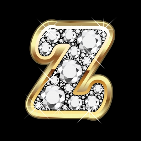 Z gold and diamond bling Vector