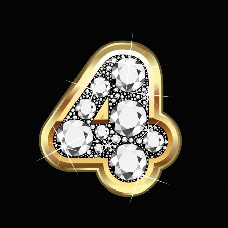 18k: 4 number gold and diamond bling