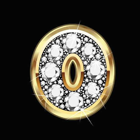 diamond stones: 0 number gold and diamond bling Illustration