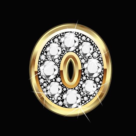 diamond jewelry: 0 numero oro e diamanti bling Vettoriali
