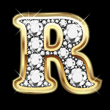 R number gold and diamond bling Vector