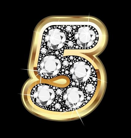 five objects: 5 oro numero e diamanti bling
