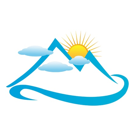 climbing mountain: Blue cloudy mountains logo