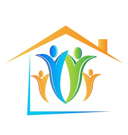 Family and house logo Stock Vector - 15041375