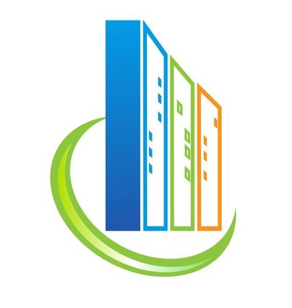 미드 타운: 건물 부동산 로고 일러스트
