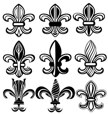 fleur: Fleur De Lis, Nueva Orleans conjunto de dise�os Vectores