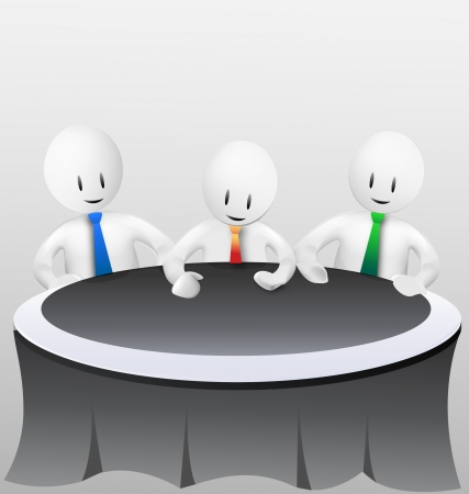 3d business men - meeting vector stock Çizim