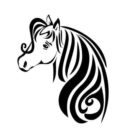Beauty head hair horse vector stock Illustration