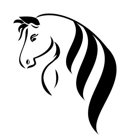 chevaux noir: T�te de cheval avec le vecteur logo beaut� des cheveux
