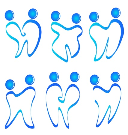 set of figures teeth logo vector  Çizim