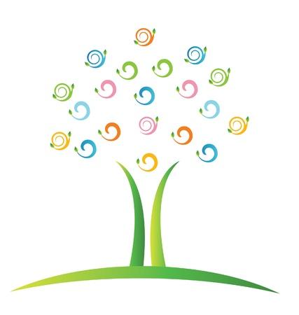 Boom met swirly bladeren logo
