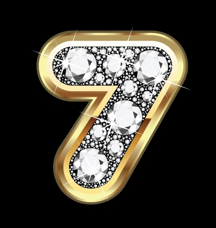 seven number gold and diamond bling Vector
