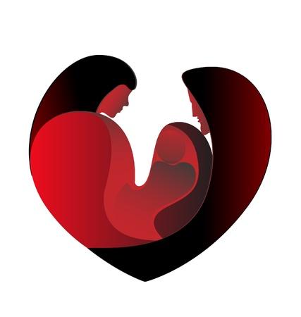 Family love in a big heart logo vector stock