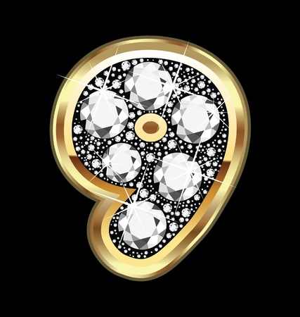 9 aantal in goud en diamant bling Stock Illustratie
