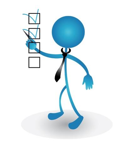 Mensen bedenken markering teken in de checklist Stock Illustratie