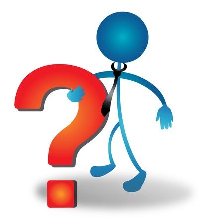 interrogativa: Las personas cifra hunging un vector de signo de interrogaci�n