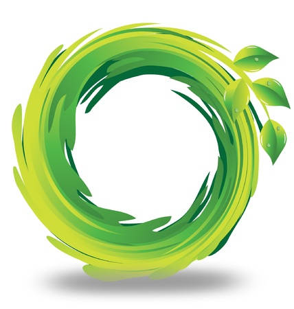 green environment: Swirly green leafs logo