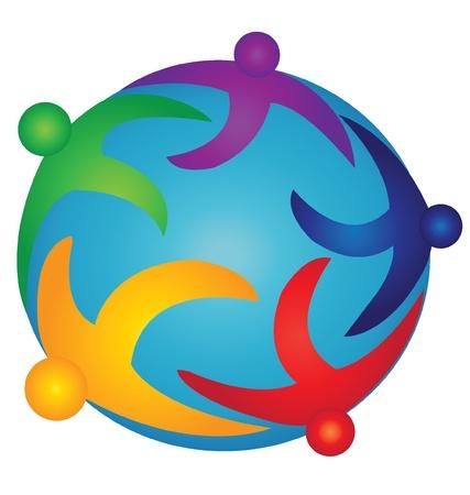 Team people on the world logo  Stock Vector - 15252961