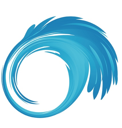 sea line: Splash blue water in a circle shape