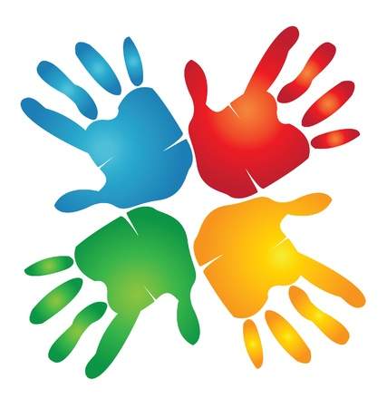 Teamwork hands around colorful logo