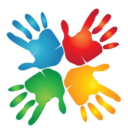 circundante: Trabalho em equipe m�os em torno do logotipo colorido