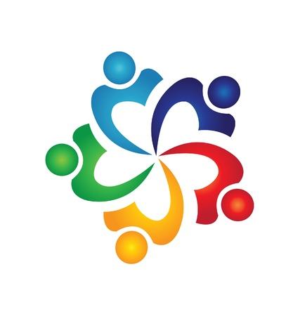 naciones unidas: Trabajo en equipo swoosh logo personas