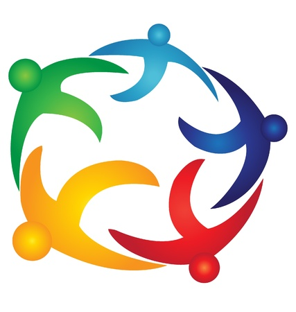 Teamwork people over earth logo