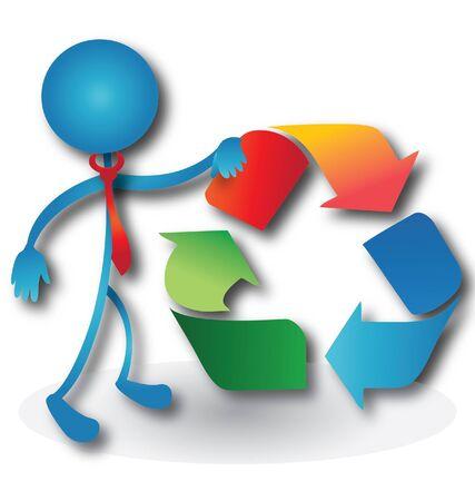 Menschen mit einer Recycling-Symbol-Logo Standard-Bild - 15252969