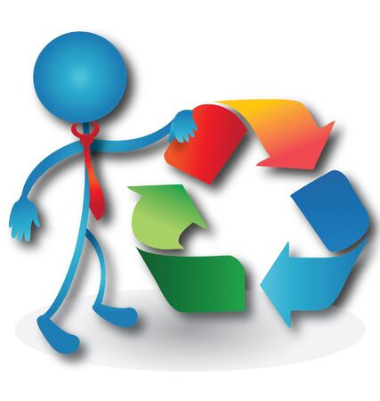 People with a recycling symbol logo  Çizim