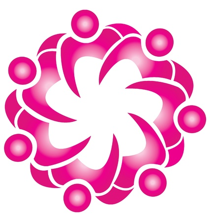 Teamwork fashion pink flower logo  Vector