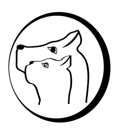 Kat en hond hoofden logo Stock Illustratie