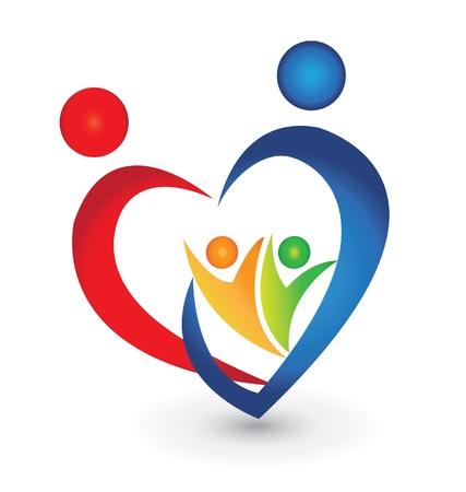 ハート形のロゴの家族連合  イラスト・ベクター素材